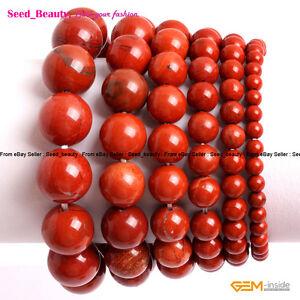 "Natural Red Jasper Stone Beads Healing Beaded Elastic Bracelet 7"" with Gift Box"