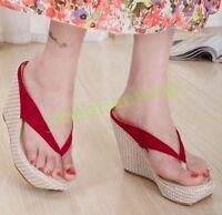 Thong Womens Platform Fashion Wedge Heel Slip On Slipper Sandals Hot Leisure