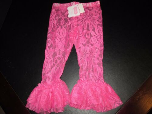 NWT Lace Ruffled Leggings by Mud Pie Aqua and Hot Pink Size 4T Set of 2