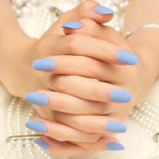 24pcs Solid Blue Scrub Fake Nails Short Round Head Full Cover Nails Tips