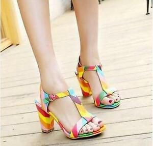 6aa713193 Sexy Women Rainbow Open Toe T-Strap Multi-Color Block Mid-Heel ...
