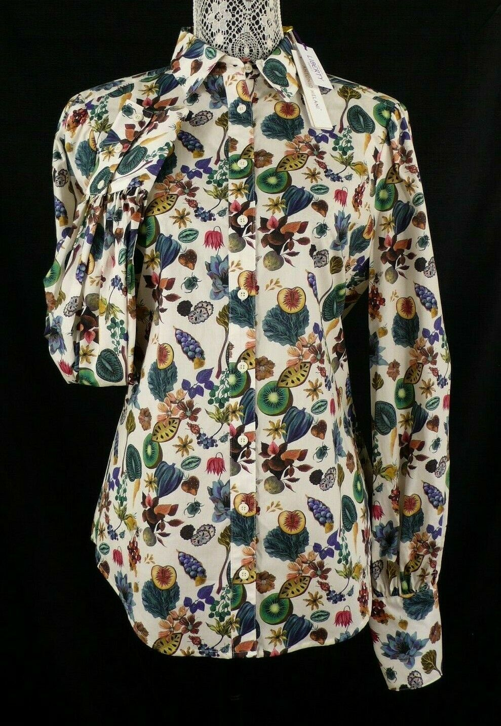 NWT Antonio Melani Retail  LIBERTY FABRIC COTTON BLOUSE in FLORAL EARTH XS