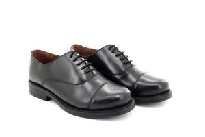 Scimitar m a mens black plain leather capped oxford cadet shoes