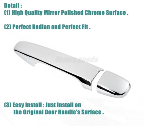Chrome Side Smart Door Handle Covers Trims For 2010-2015 Toyota Prius Hatchback