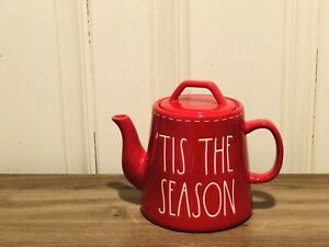 Rae-Dunn-Christmas-By-Magenta-TIS-THE-SEASON-White-Stitching-Red-Teapot-VHTF
