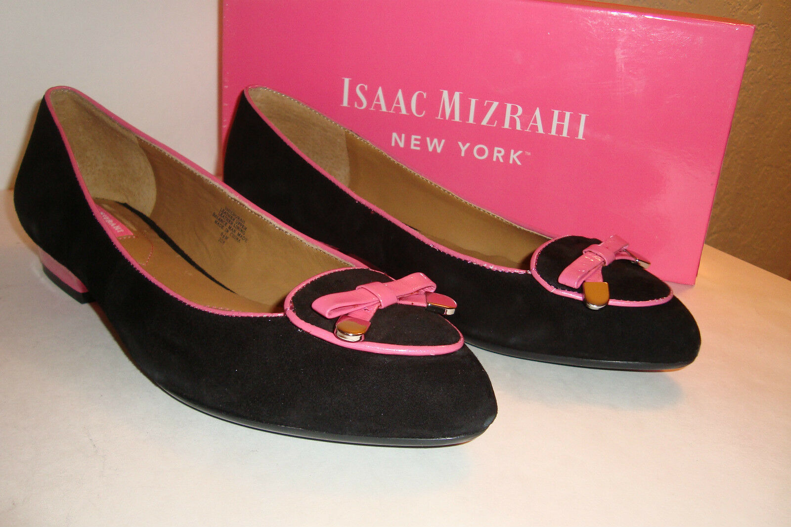 Isaac Mizrahi Womens NWB Black Deborah Black NWB Pink Suede Shoes 7 MED NEW 50db73