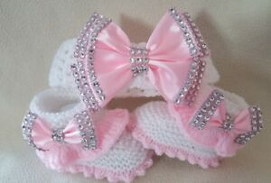 Hand knitted Romany Bling baby girls booties/shoes/Crochet headband.0-3  month