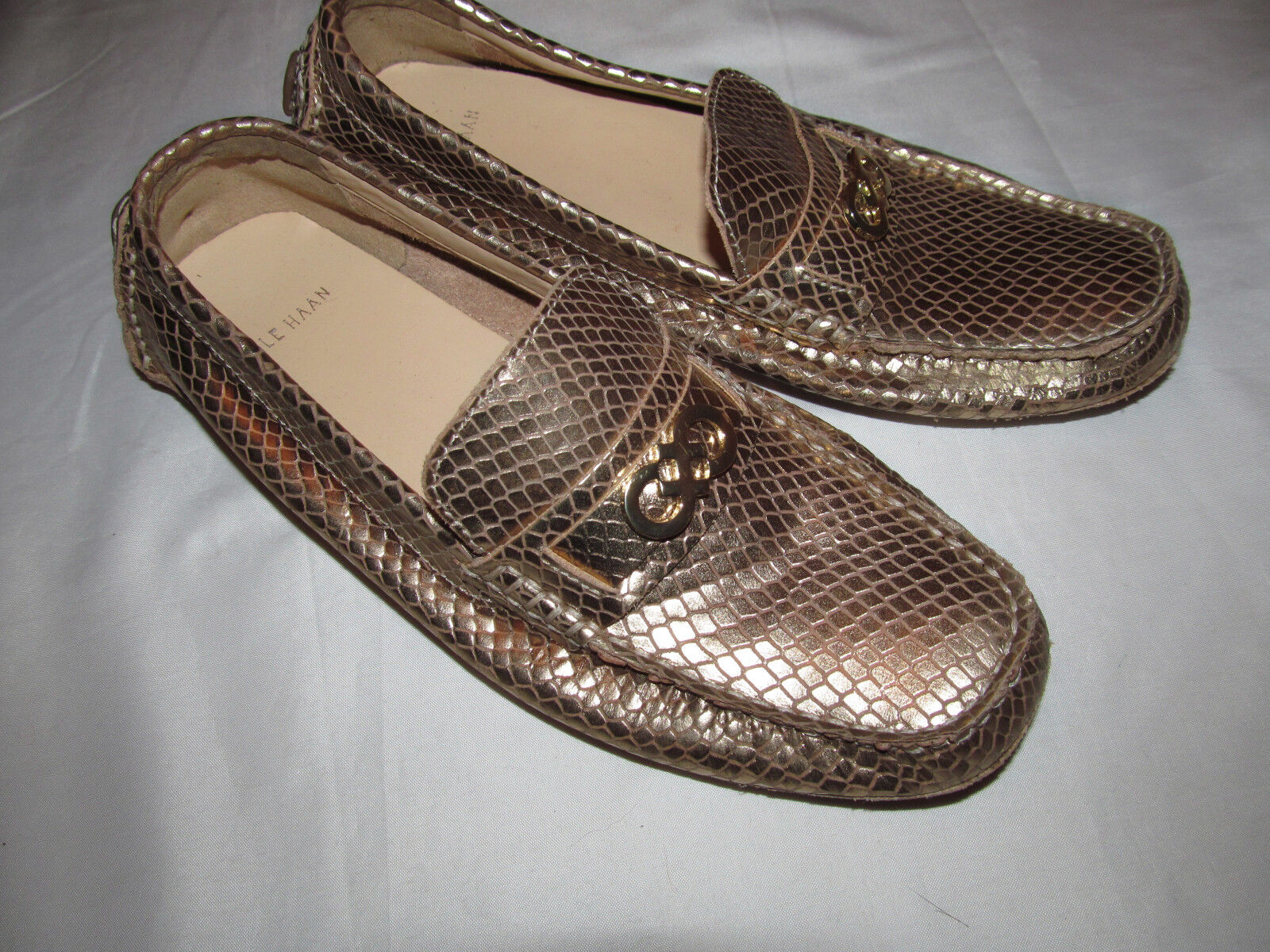COLE HAAN SHELBY DRIVER gold snake snake snake embossed moccasins loafers shoes 6 B NEW 044769