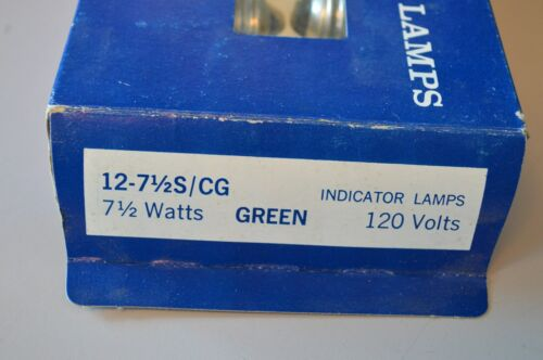 Single Bulb New Old Stock GE 7.5W Green Indicator Lamp 71//2S//CG