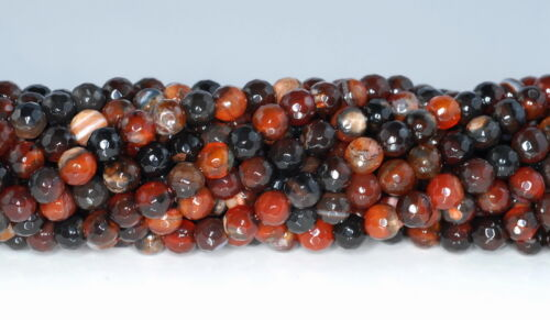 """6MM  AGATE GEMSTONE BLACK RED FACETED ROUND LOOSE BEADS 14.5/"""""""