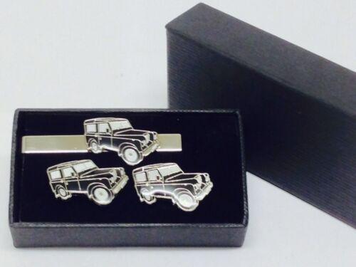 Negro 4 X 4 Gemelos y clip de corbata Conjunto de Regalo en Caja Esmalte Boda forma Land Rover