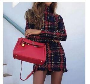 vestito corto abito tubino elegante rosso nero scozzese  morbido  manica 4955