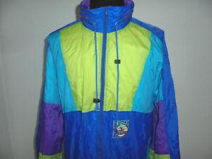 vintage-80s-Nylon-Regenjacke-oldschool-neon-bunt-new-rave-Jacke-80er-Jahre-XL