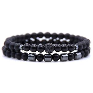 Bracciale da uomo con pietre dure in onice braccialetto set 2 ematite nero sfere
