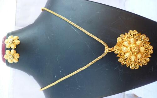 22K Gold überzogene indische Anhänger Ohrringe Kette Party Set Exkl  usive ..c