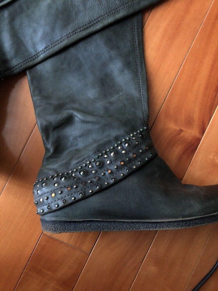APEPAZZA  Damens's  Leder Olive Green Over Knee  Stiefel Schuhes Größe 7.5