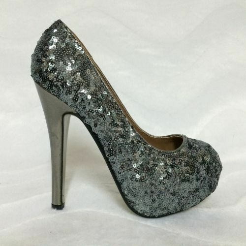 Glamour PEEP TOES mit Pailletten silver