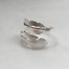 Solid-Sterling-Sliver-Wrap-Wide-Feather-Band-Angel-Wing-Leaf-Silver-Ring-II 縮圖 2