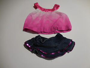 Build A Bear Girl 2 Pc Outfit Pretty Pink Top & Blue Denim Skirt wSequins