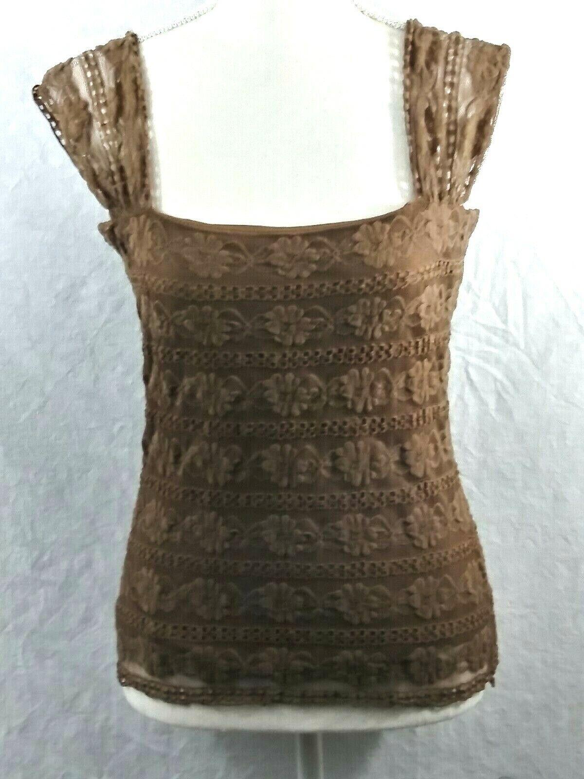 Max Studio Top Brown Lined Sleeveless Size Medium New
