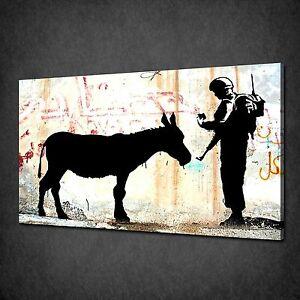 BANKSY-GRAFFITI-FEED-DONKEY-STREET-URBAN-CANVAS-PRINT-PICTURE-POSTER-WALL-ART