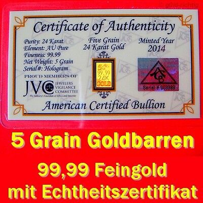 1 zertifizierter Goldbarren mit 0,324 Gramm Gewicht (999,9 Gold Barren Geschenk)