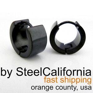 Image Is Loading Mens Black Huggie Hoop Earrings Stainless Steel