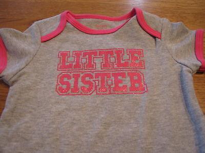 "Baby Girls /""Little Sis/""  9M 9 month long sleeve Bodysuit gray Carter/'s NWT^^"