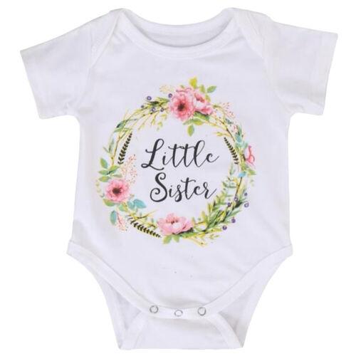 Girl Baby Cotton Clothes Little Big Sister Print T-shirt Jumpsuit Romper Fashion