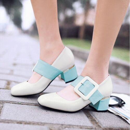 Women/'s Shiny Big Buckle Sweet Chunck Heel Office OL Block Heel Dress Shoes