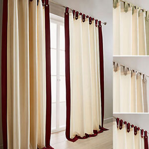 Harlington Faux Silk Tab Top Lined Curtains With 5