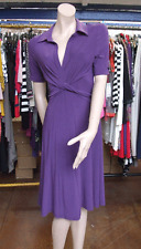 Joseph Ribkoff NWT 10 Wonderful Collared Purple Stretch Jersey Wraparound Dress
