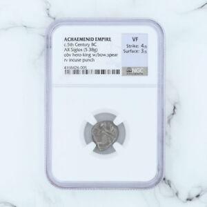 Achaemenid-Reich-Muenze-NGC-Ar-Siglos-5-38-Gramm-5th-Jahrhundert-BC-Hero-Incuse