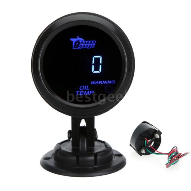 "52mm 2"" Digital LCD Car Oil Temp Gauge Temperature Meter Sensor Blue New Z0T4"