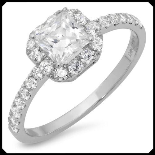 Rachel 1.50CT PRINCESS Diamond Solid 14K White GOLD Engagement Wedding Halo Ring