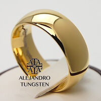 Tungsten Ring Wedding Band Comfort Fit 8mm Durable Gold Design Size 6 To 14