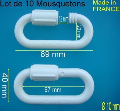 10 Maillons Rapide Nylon Polyamide Blanc Ø 10 mm,Très grande Résistance 140 KG