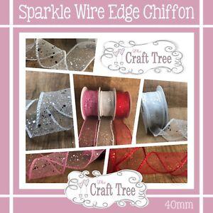 SPARKLE WIRE EDGE CHIFFON RIBBON -- 40mm Width --1 Metre
