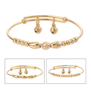 331e4e4c80abc Details about 14K Gold Filled Bell Adjustable arm Beads Bangle Girls child  kids baby Bracelet
