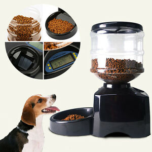 5 5l Black Automatic Pet Feeder Food Dish Bowl Dispenser