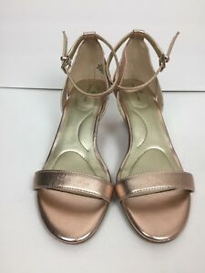 Bandolino-Sandals-SZ-8-Wedge-Pink-Metallic-Open-Toe-Ankle-Strap-Office-Casual