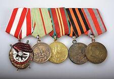 II WK URSS 5 medaglie su una SPANGE Russia Orden rotbannerorden