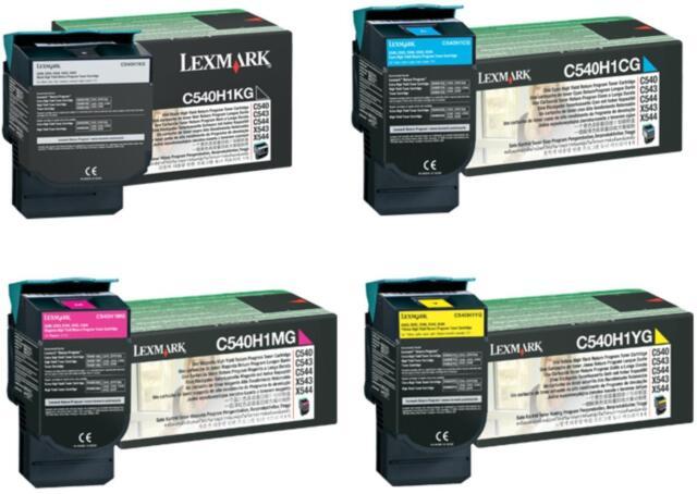 4 x Lexmark High Capacity Original Toners C540H1KG, C540H1CG, C540H1MG,C540H1YG