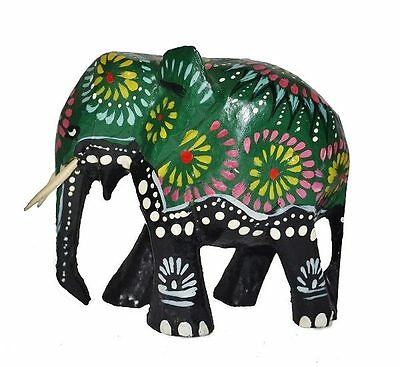 Wood Carved Batik Sri Lankan Elephant Ornament Statue Home decorative-New