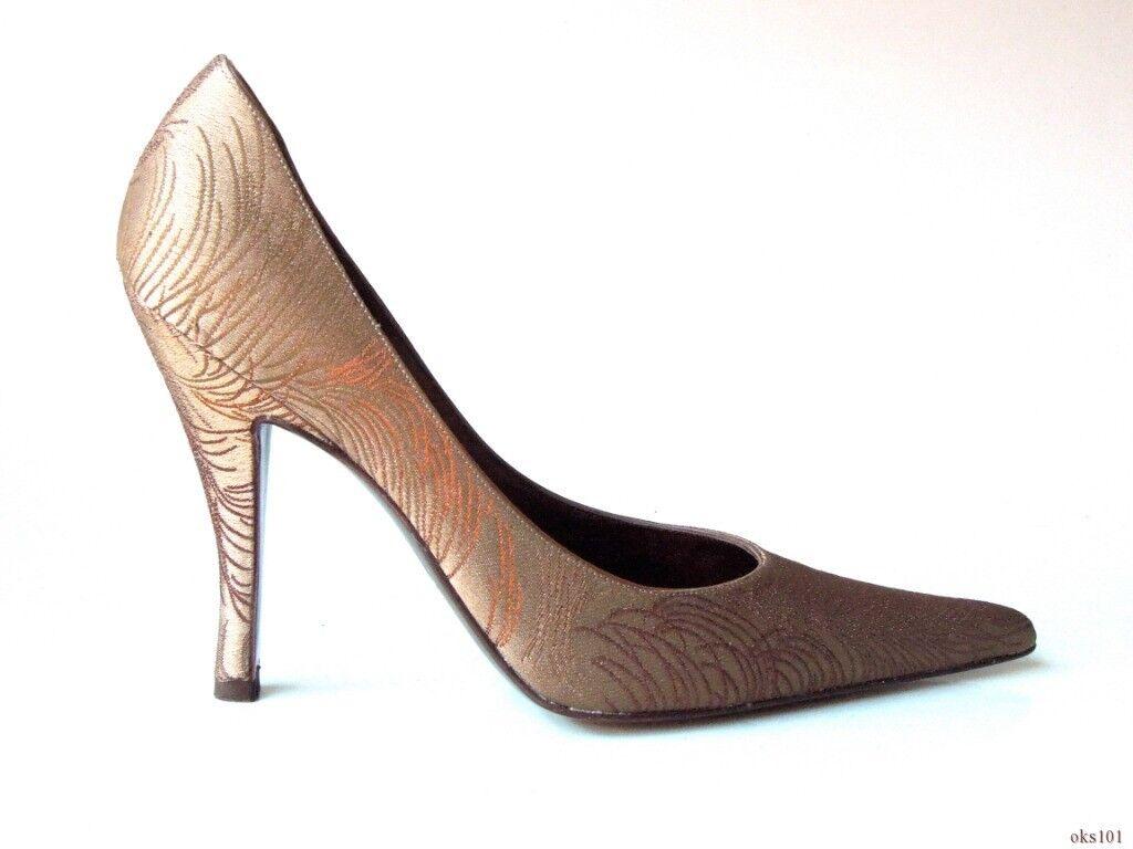 New  DELMAN brown bronze feather-print satin classy pumps shoes Spain 8