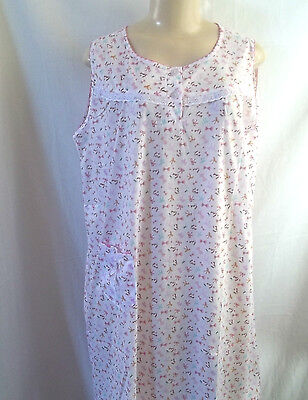 Pink White Bows No Sleeve Floral Nightgown Sleepwear Pocket Lace Trim Large Sleepwear & Robes