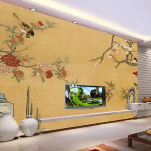 3D Stone Peony Birds 7 Wall Paper Murals Wall Print Wall Wallpaper Mural AU Kyra