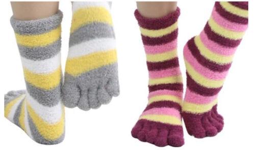 12 Pairs Assorted Cozy Striped Winter Warm Toe Socks Size 9-11 WOMENS GIRLS