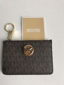 74b82ae9b3ccd New Michael Kors Fulton Small Brown Acorn Top Zip Coin pouch with ID ...