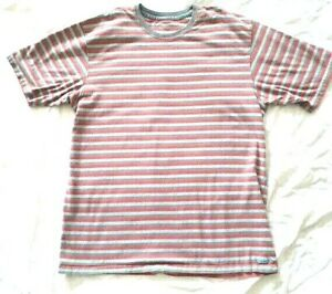 Calvin-Klein-Striped-T-Shirt-Red-Blue-Grey-Adult-Large-Egyptian-Cotton-VGUC